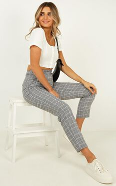 Roll Along Pants in grey check