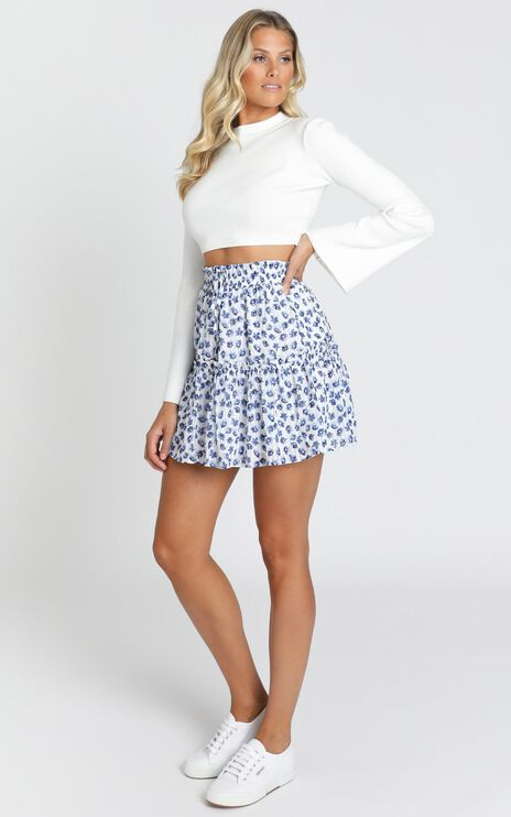 Flower Time Is Now Skirt in Blue Floral Chiffon