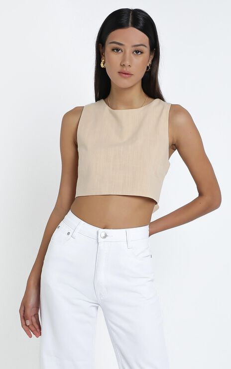 Loxley Top in Beige Linen Look