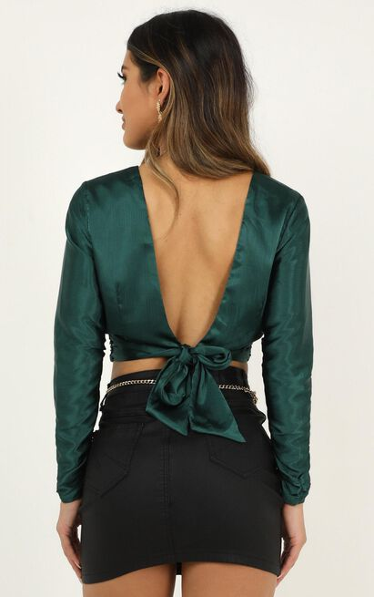 Come On Girl Top In emerald satin - 20 (XXXXL), Green, hi-res image number null