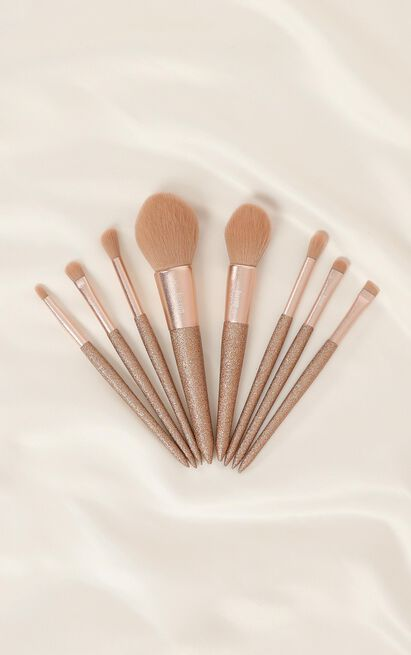 Makeup Brush Set In Champagne - 8pc, , hi-res image number null