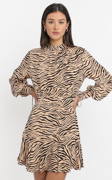 Elias Dress in Tan Zebra