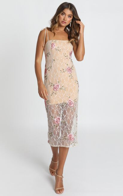 Can We just Talk Dress In beige floral lace - 14 (XL), Beige, hi-res image number null