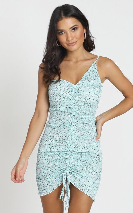 Indi Ruched Mini Dress In Sage Floral