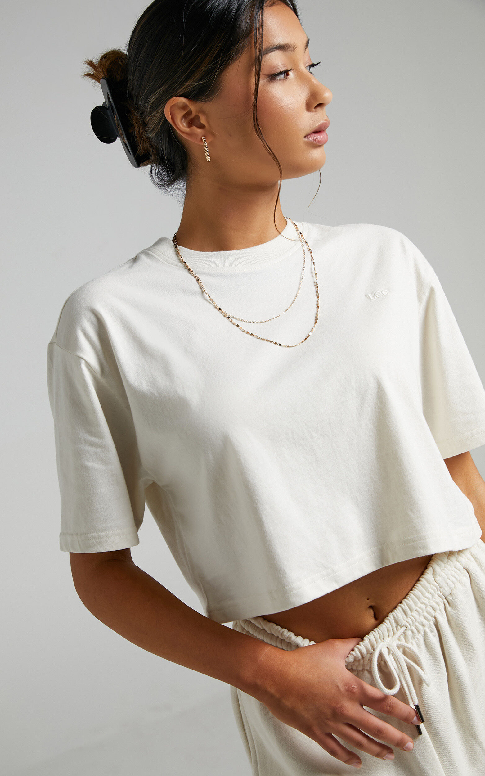 Lee - Baggy Cropped Tee in Unbleached - L, CRE1, super-hi-res image number null