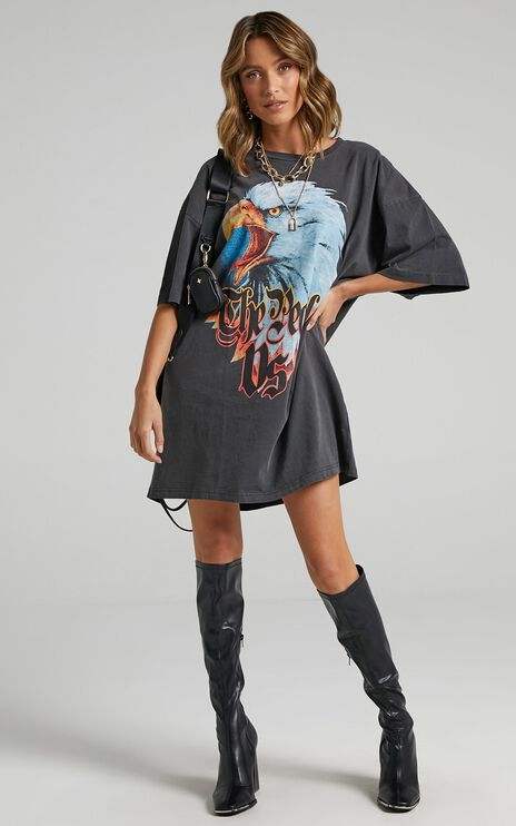 The People Vs - Righteous Eagle Tee Dress in Ultra Black