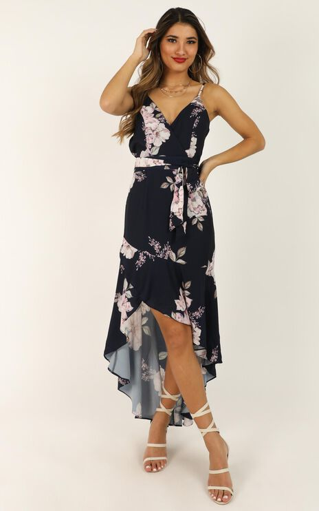 Open Communication Dress In Navy Floral