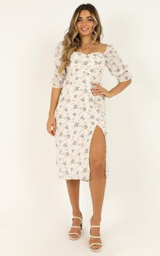 Silence Dress In White Floral