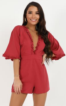 Met By Accident Playsuit In Wine