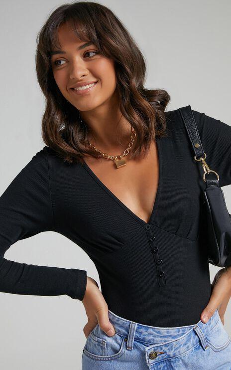 Back To Reality Bodysuit in black