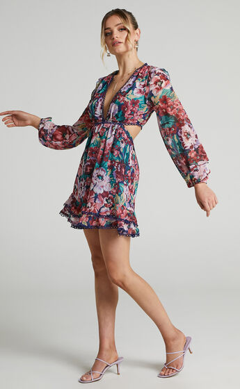 Karmella Side Cut Out Detailed Mini Dress in Amorous Floral