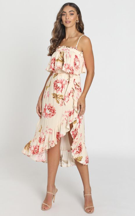 Aderyn Midi Dress in Beige Floral