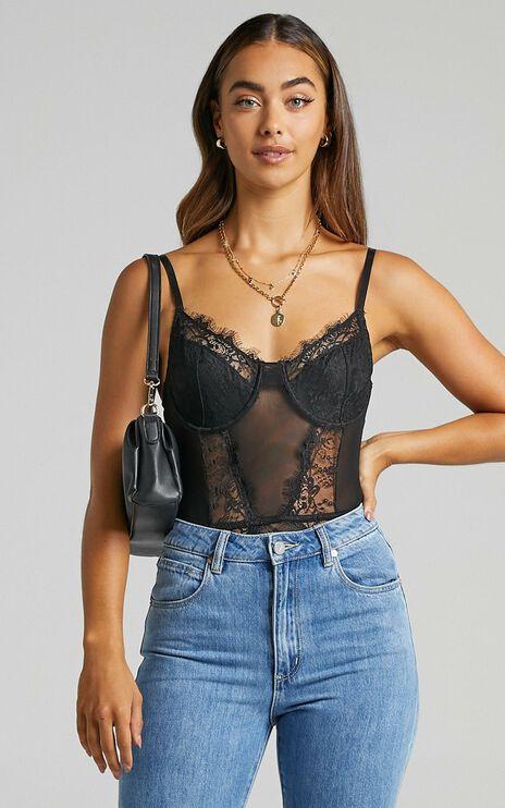 Melisa Panelled bodysuit in Black Lace