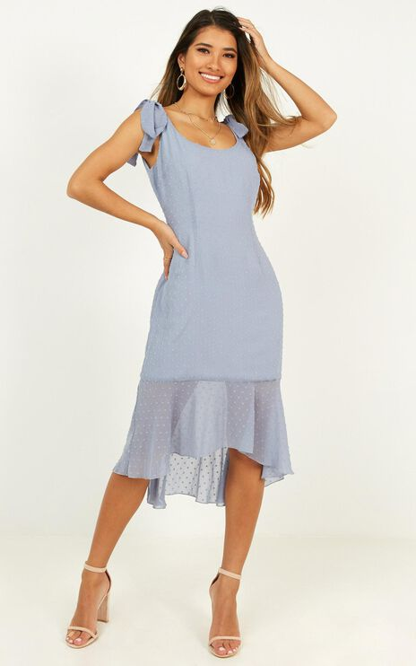 Turn To You Dress In Dusty Blue