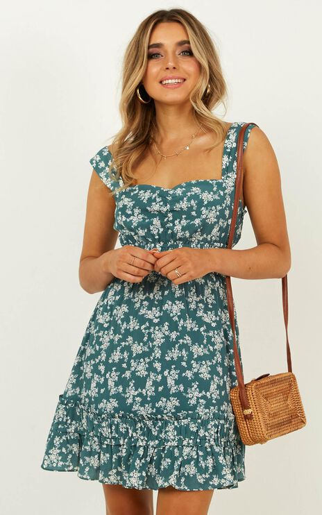 Telling The Truth Dress In Sage Floral