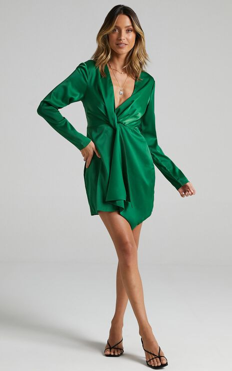 Stop Thinking About It Dress In Emerald Satin
