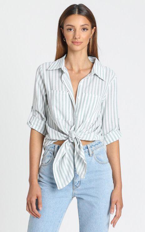 Paris Shirt in Sage Stripe