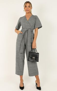 City Dweller Jumpsuit In Grey Check