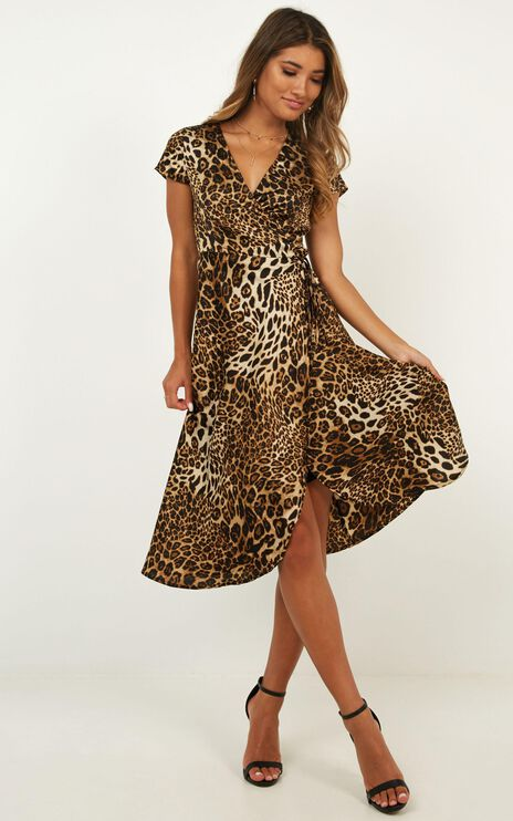 Salsa Wrap Dress In Leopard Print