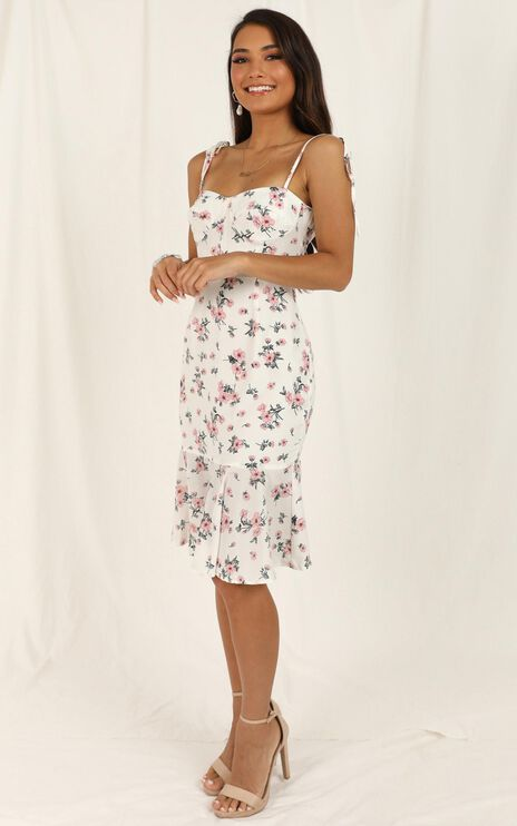Flowers Bloom Dress In White Floral
