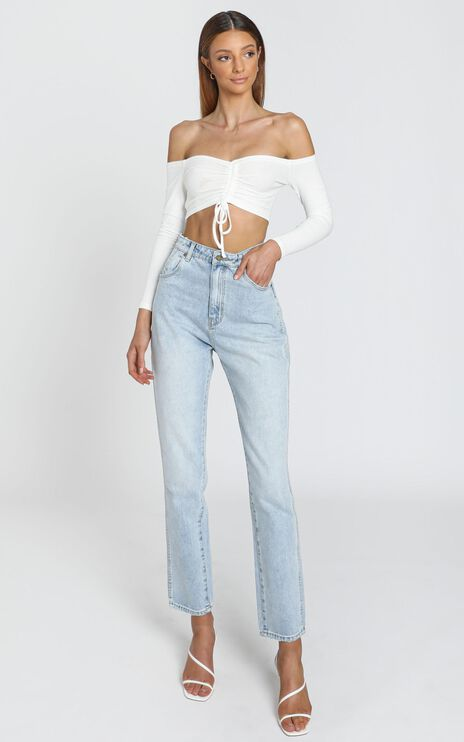 Karlo Ruched Front Top in White