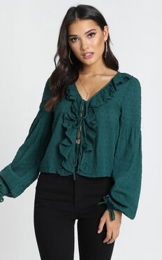 Nora Ruffle Top In Forest Green