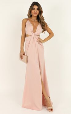 Simple Twist Of Fate Dress In Pale Pink Satin
