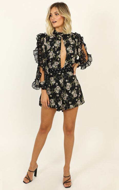 Lets Go On A Date Playsuit in Black Floral