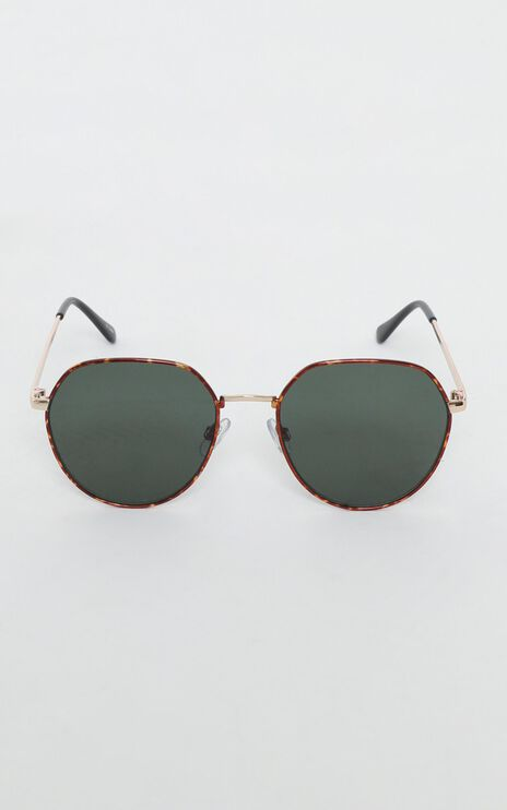 Mink Pink - Side Street Sunglasses In Gold Tort And Green Mono