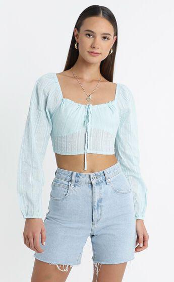 Carmel Long Sleeve Top in Light Blue