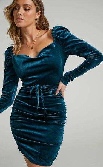 Treena Longsleeve Cowl Neck Ruched Dress in Petrol Velvet
