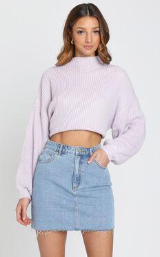 I Feel Love Oversized Knit Jumper in Lilac