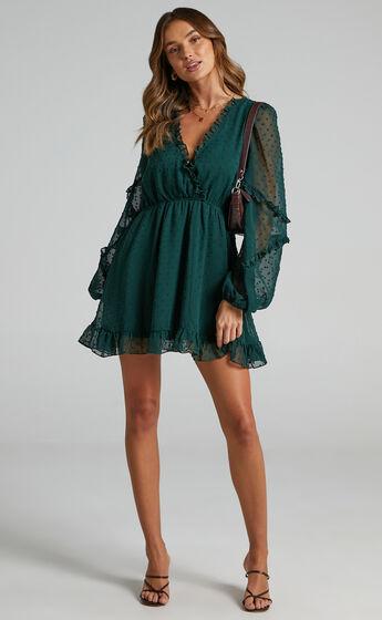 Sancha Long Sleeve Frill Mini Dress in Emerald