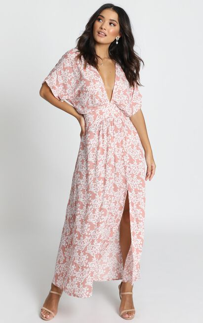 Hamptons Holiday dress in pink floral - 12 (L), Pink, hi-res image number null