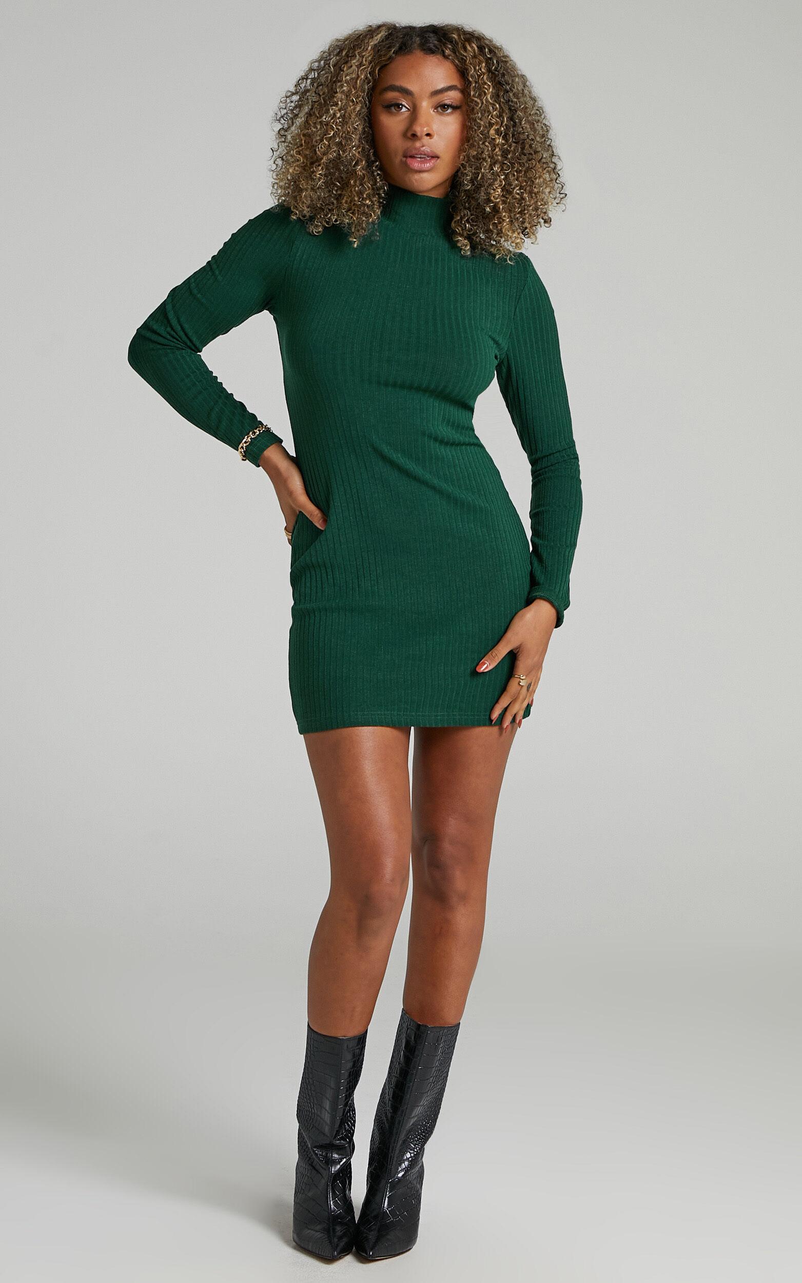 Lillia High Neck Bodycon Mini Dress in Emerald - 06, GRN1, super-hi-res image number null