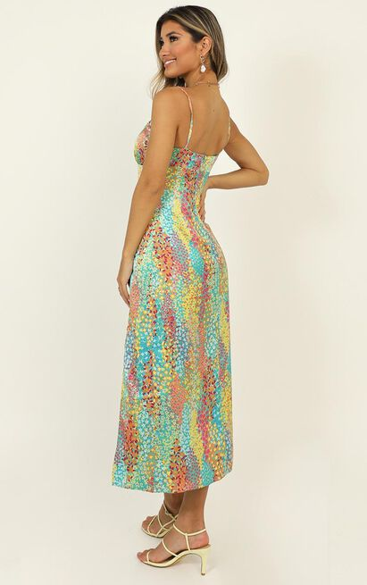 Not Your Gal Midi Dress in multi floral satin - 14 (XL), Multi, hi-res image number null