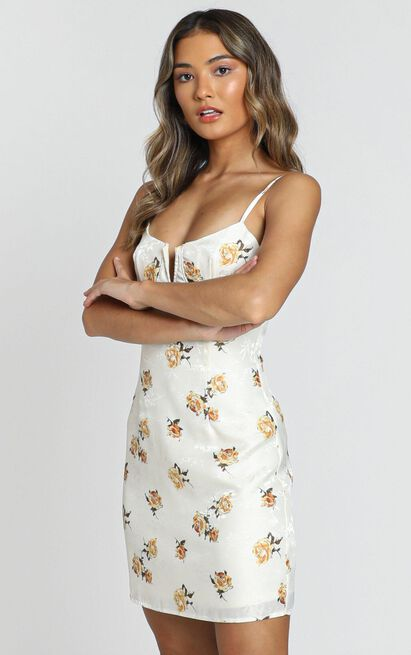 Geranium Dress in white floral - 8 (S), White, hi-res image number null
