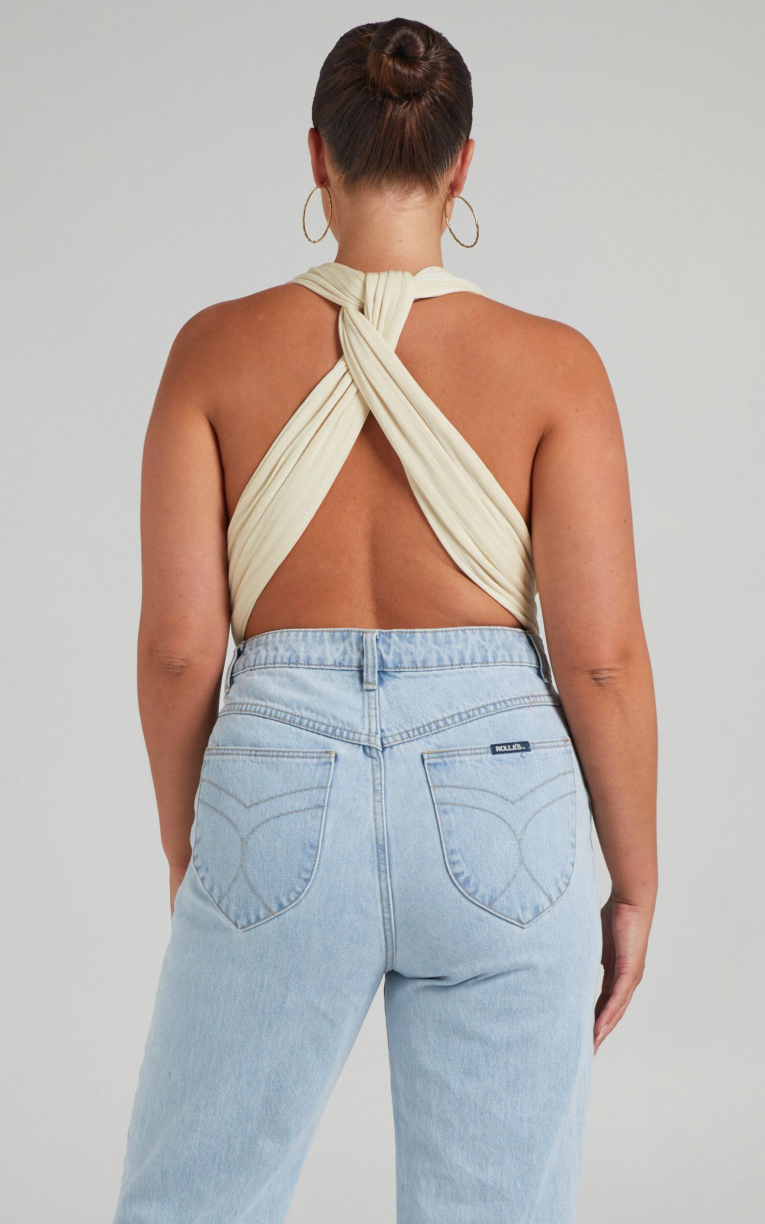 Kimbaa Slinky Multi tie bodysuit in Cream - 06, CRE4, super-hi-res image number null