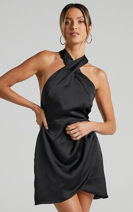 Cardea Dress in Black Satin