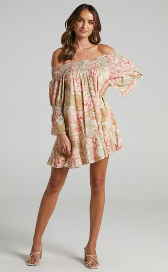 Carrie Dress in Palm Print