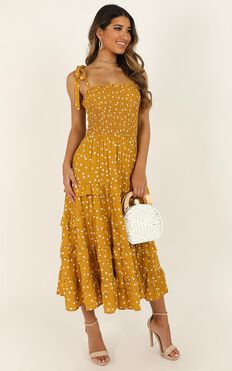 Giselle Dress In Mustard Spot