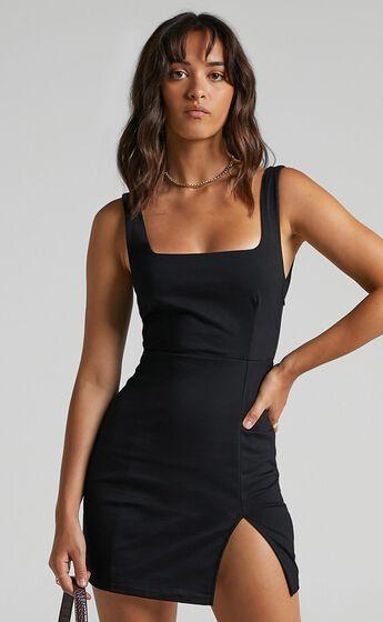 Hughes Square Neck Mini Dress in Black