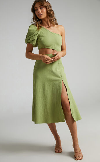 Marcia One Shoulder Midi Dress with Side Cut Out in Green Linen Look