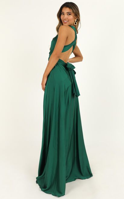 Keep On Track dress in emerald green satin - 12 (L), Green, hi-res image number null