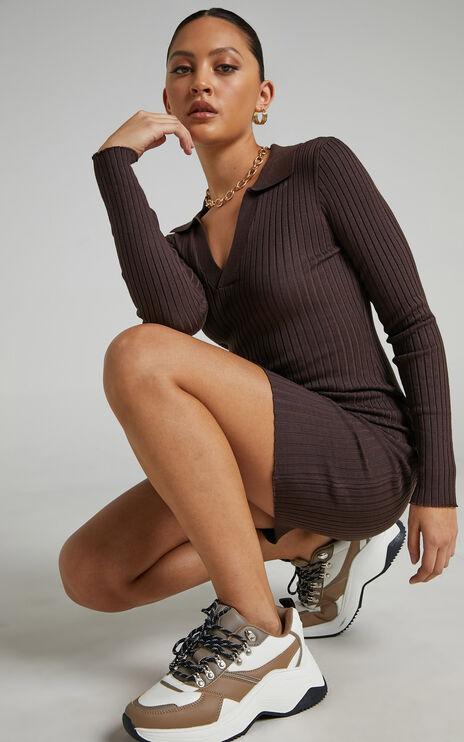 Raymond Bodycon Collared Mini Dress in Chocolate Rib