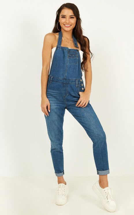 Rodeo Drive Denim Overalls In Dark Wash
