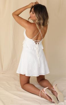 Miss Me Dress In White Embroidery