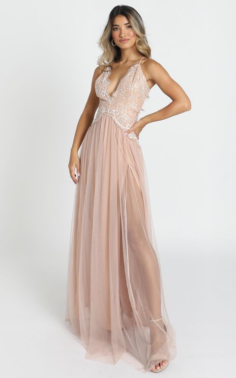 Show Me Love Mesh Maxi Dress In Rose Gold Glitter