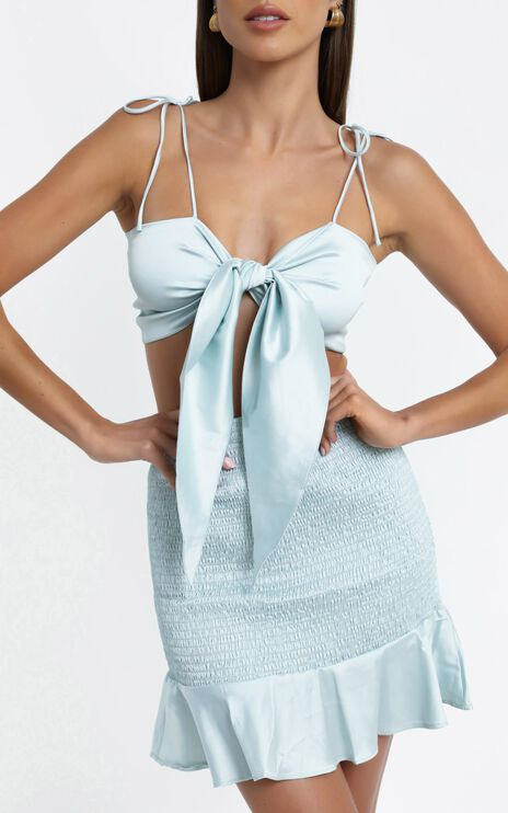 Love Your Call Two Piece Set in Sage Satin