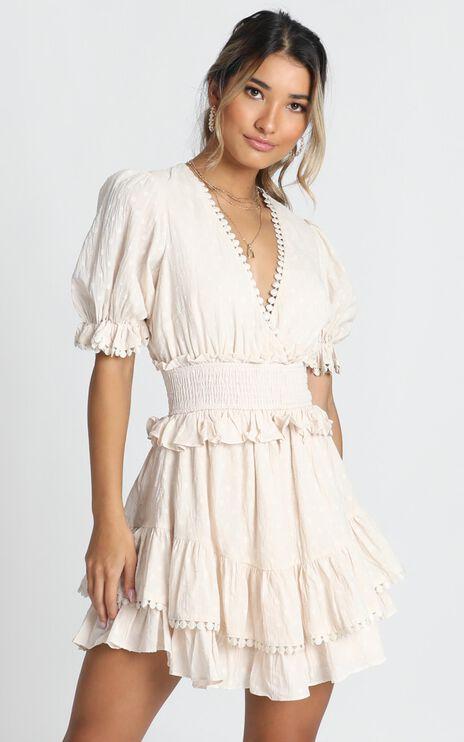 Dotty Frill Mini Dress In Beige